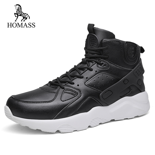 3e6fd3e102b35 HOMASS Men Casual Shoes Autumn Winter New Lace-up Style Fashion Trend  Microfiber Flat Breathable High Top Man Boots Big Size 46
