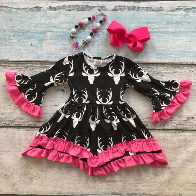 Niñas ropa de bebé de los cabritos reno imprimir pink ruffles vestido de algodón otoño invierno caliente boutique flare manga collar a juego & bow
