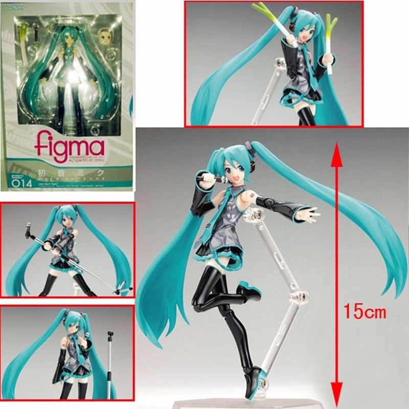 Surwish 15 ซม.Movable อะนิเมะ Action FIGURE Hatsune Miku ตุ๊กตาของเล่นตุ๊กตาของเล่น-สีฟ้า