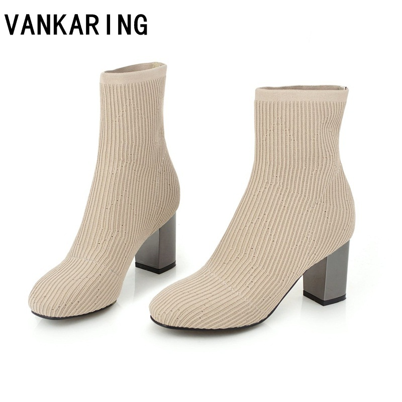 VANKARING brand shoes autumn winter shoes woman ankle boots cozy elastic round toe black casual riding