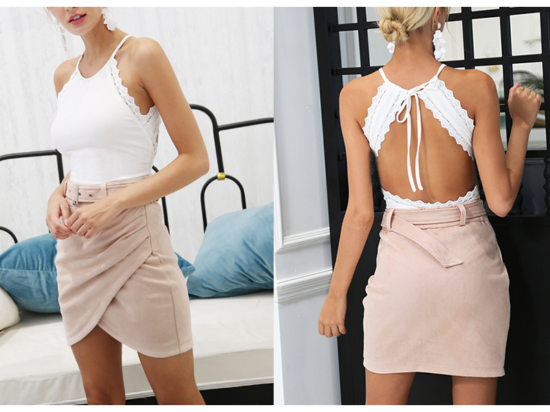 Affogatoo High waist suede leather skirts 18 Autumn winter belt ruched bodycon skirt Women asymmetric short skirts female 4