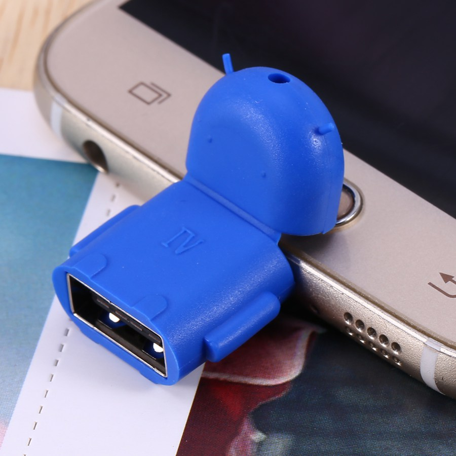 Android Micro USB To USB 2.0 OTG Adapter Converter For Samsung Galaxy S3 S4 S5 Robot Shape Tablet PC To Flash Mouse Keyboard