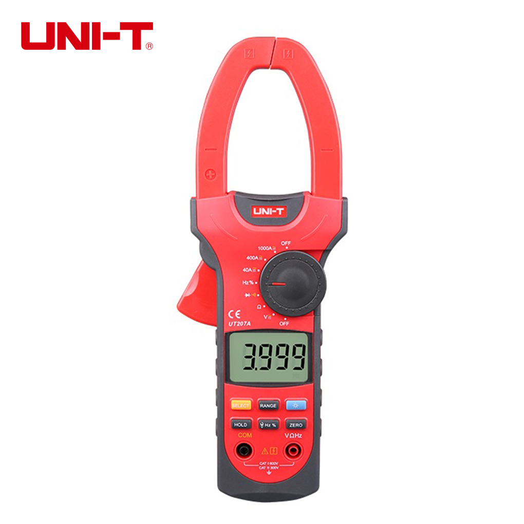 UNI-T UT207A 3 3/4 Digital Auto Range Digital Clamp Multimeter Voltage Current Resistance Frequency Clamp Meter new arrivals ut206 3 3 4 digital auto range current clamp multimeter capacitance 1000a 600v uni t meter with temperature china