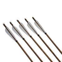 12pcs Archery Traditional Bamboo Arrow Fletching Parabolic Shaped 5 Turkey Feather Inserting Steel Practice Arrow Point
