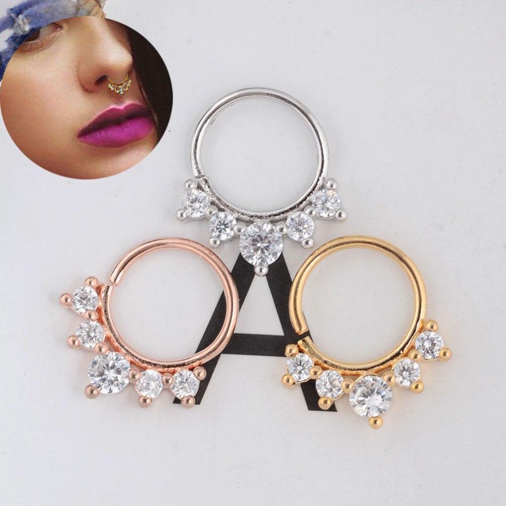 2 pc Non-piercing Septum Hanger Clip-on Fake Nose Ring
