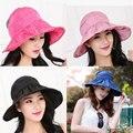 Caliente de La Manera de Ala Ancha Sombreros de Sun Plegable Mujeres Sunhats Auto-lazo Sólido Happybuy Floppy Cap Sombreros de Playa Sombrero de Verano