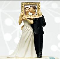 Free Shipping Wedding Favor Photo Frame Wedding Cake Topper Picture Perfect Couple Figurine Wedding Cake Topper