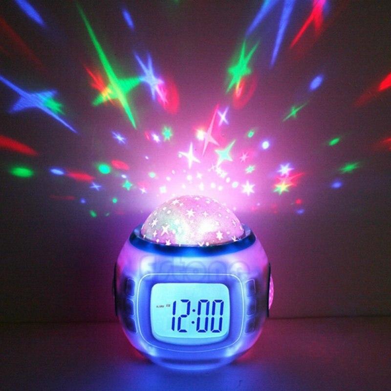 Multipurpose Star Digital LED Projector Alarm Clock Nightlight for Color-Change