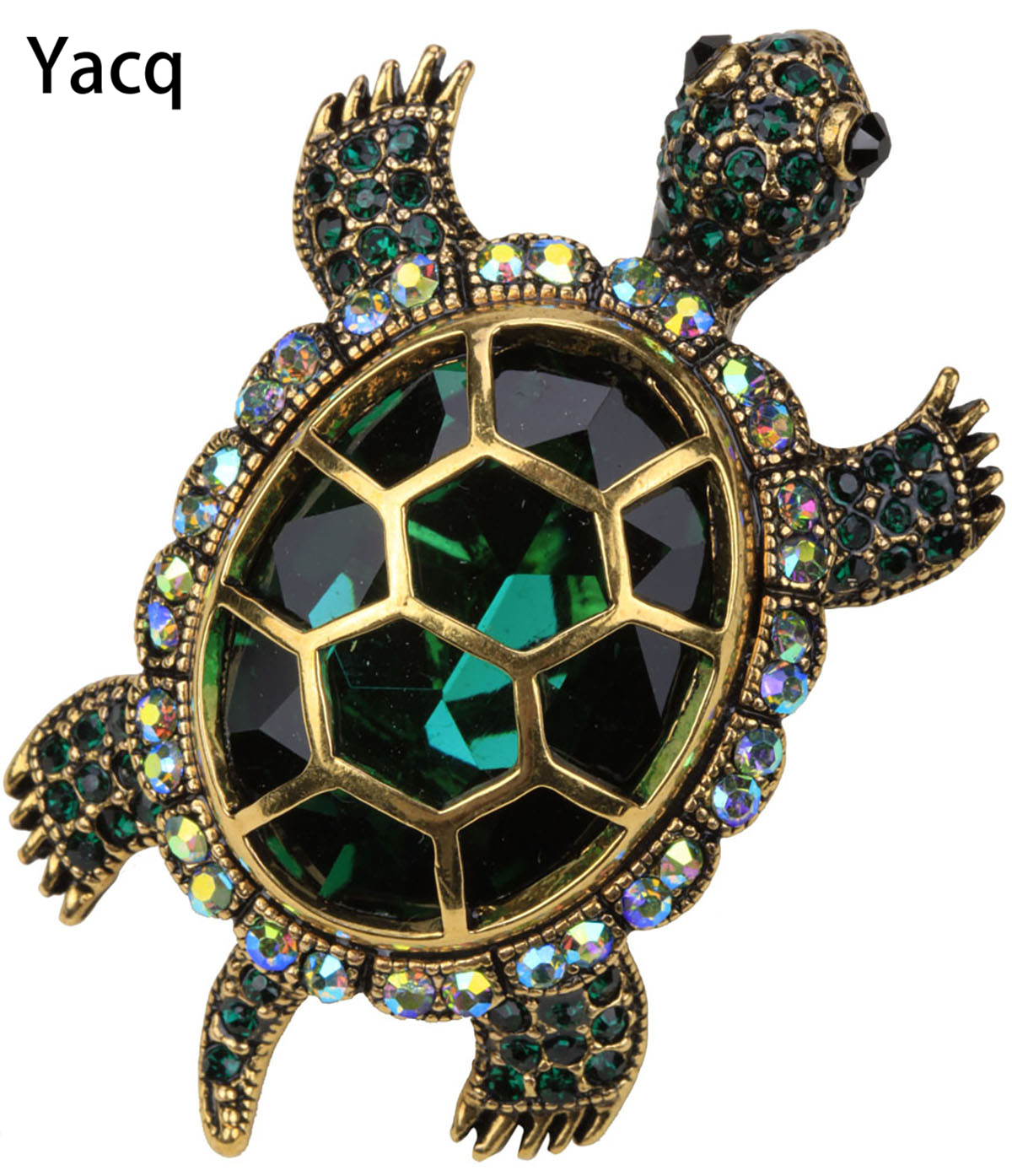Yacq Turtle Tortoise Brooch Pin Pendant Summer Crystal