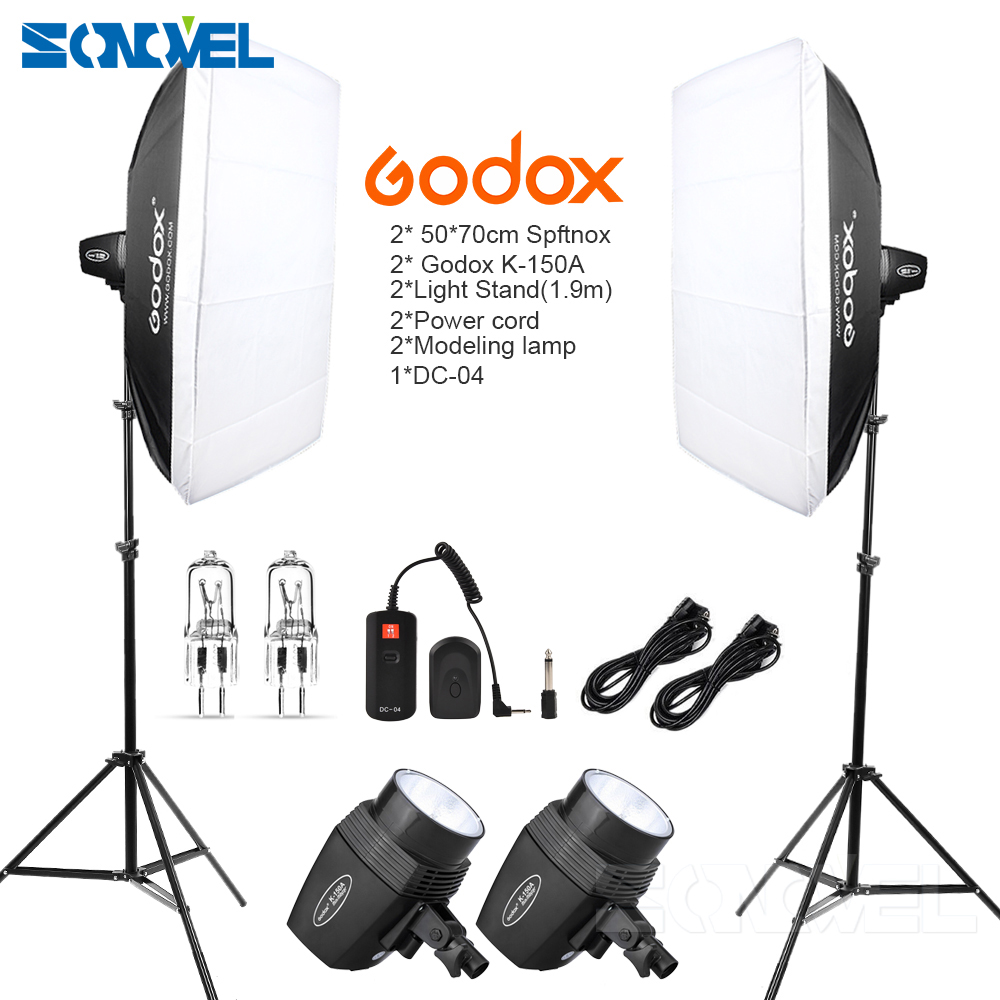 Godox K150A 300Ws 300W 2*150Ws Studio Strobe Room Photo Studio Photography Lighting + Softbox DC-04 Flash Trigger + Light Stand