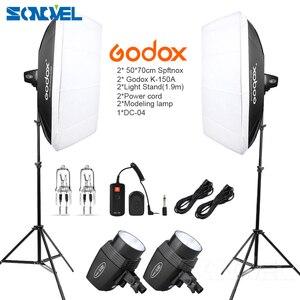 Image 1 - Godox K150A 300Ws 300 W 2*150 Ws Stüdyo Strobe Odası Fotoğraf Stüdyosu Fotoğraf Aydınlatma + Softbox DC 04 flash tetik + Işık Standı