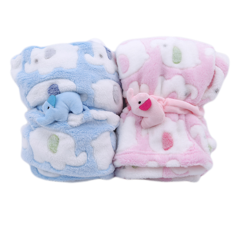 Cute Elephant Cartoon Baby Blanket Newborn Elephant Air Conditioning Quilt Coral Velvet Pillow Quilt Dual-use Baby Products