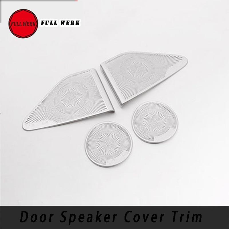 4 pièces/ensemble en acier inoxydable voiture style porte haut-parleur revêtement d'habillage autocollant plaque pour Tesla modèle 3 accessoires d'intérieur