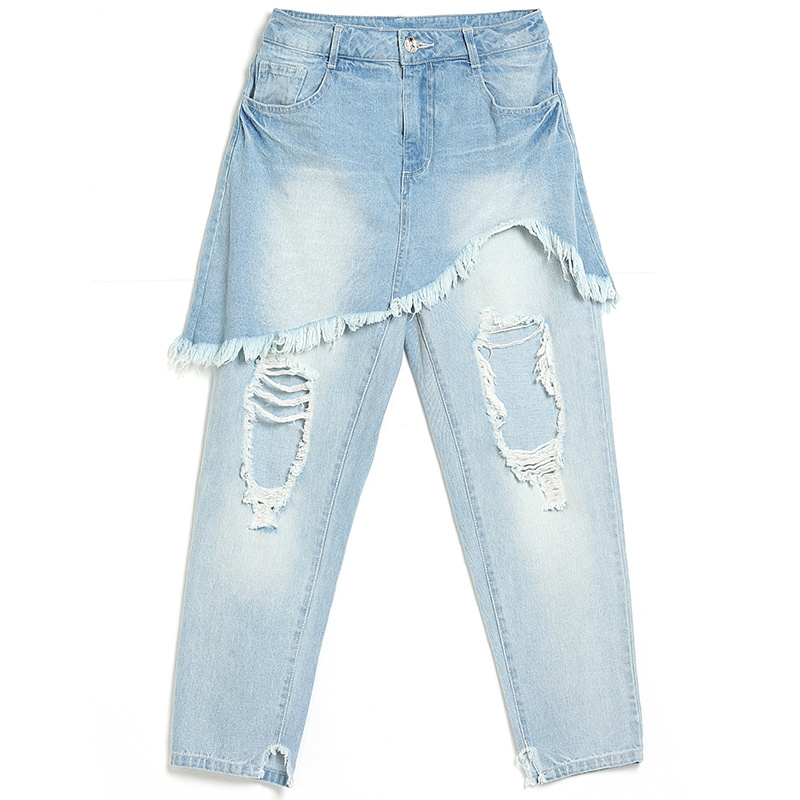 ripped jeans for women Summer Brand Personality Holes Tassels False Two Paper Culotte Easy Light Jeans Woman подвесная люстра crystal lux alegria sp10 5 gold brown