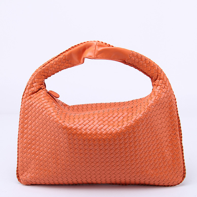 Brand New Celebrity Ladies Woven Leather Handbag Criss Cross Hobo Dumplings Bag Women 39 s Knitting Casual Tote in Top Handle Bags from Luggage amp Bags