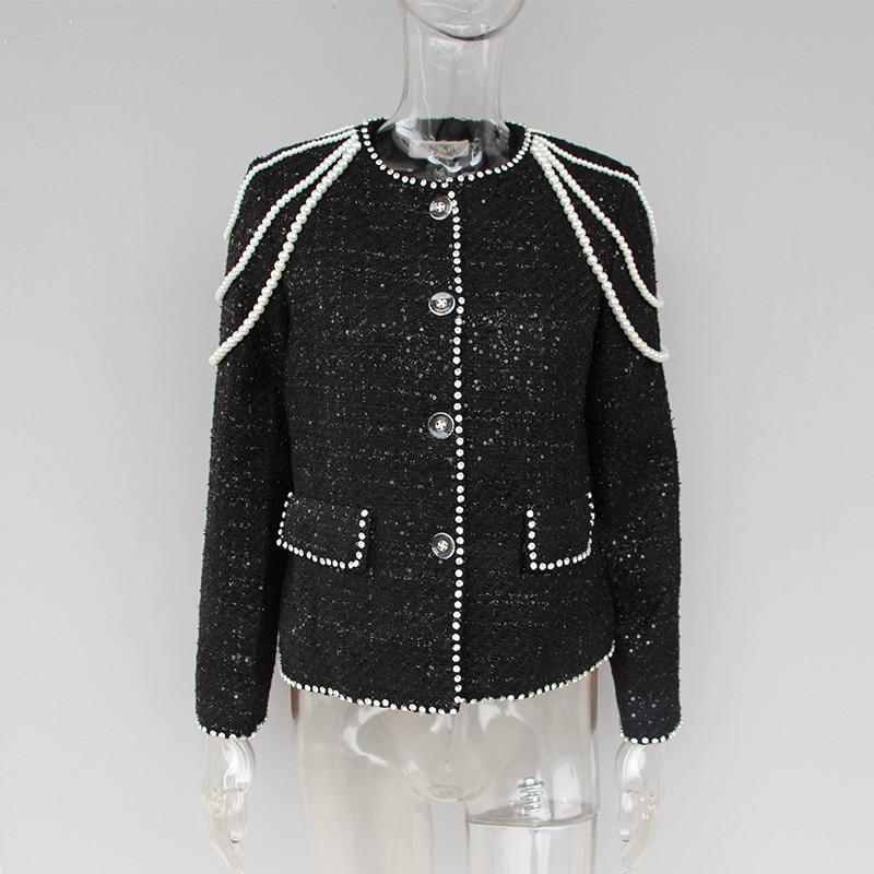 Perles Unique Diamants Qualité Outwear Veste Noir Tweed Mode S075 Poitrine Manteau Haute Femme Femmes Laine Court wBFxtqUWC