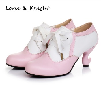 Japanese Style Fantasy Heels Patchwork Lace-up Lolita Cosplay Oxford Pumps