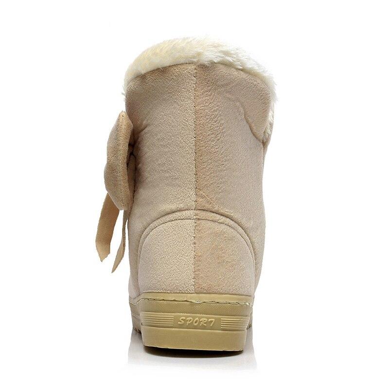 El Deslizamiento coffee Piel Zapatos De En Invierno Caliente Botas Damas Gamuza Mujeres marrón Mujer Nieve Tobillo Pajarita Plataforma Moda Para Beige negro AXt16w