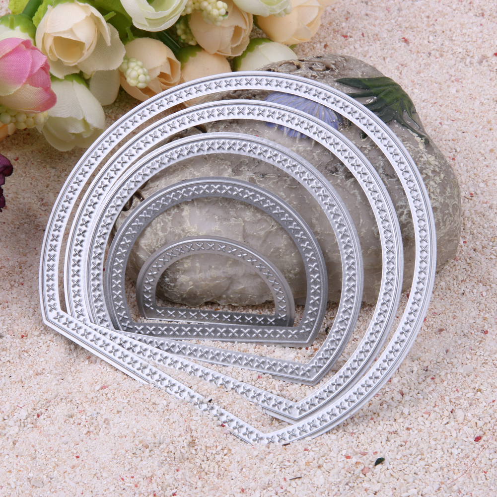 5 Pieces Semicircle Moon Shape Card Maker Metal Die Cutting Dies for DIY Scrapbooking Photo Album Decorative Embossing Folder