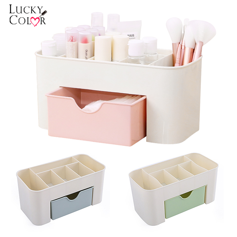 3 Color Portable Desktop Storage Box Plastic Scissors Makeup Organizer Jewelry Nail Polish Pen Brushes Container Tool Case