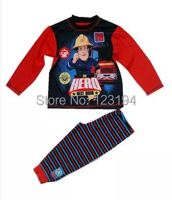 1 Set/lote novo 2017 conjuntos de roupas de bebê meninos bombeiro sam primavera moda outono longo T-shirt ternos trajes dos desenhos animados das crianças das crianças