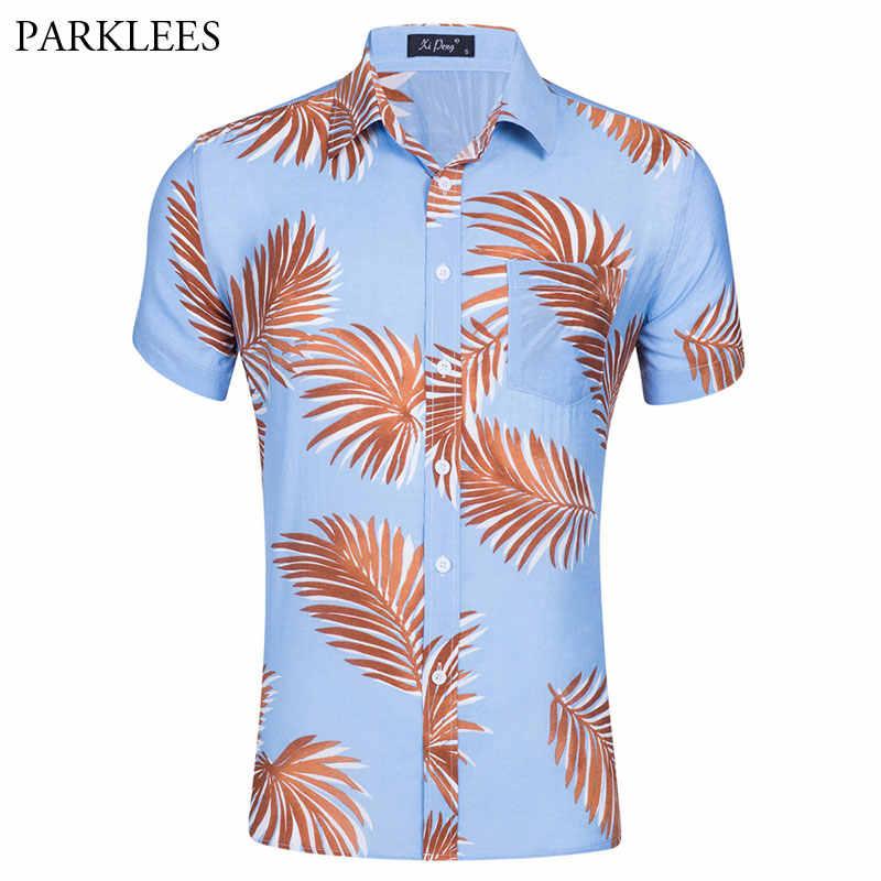 Летняя Пляжная Мужская гавайская рубашка 2018 новая брендовая приталенная рубашка с цветочным принтом Повседневная рубашка с отложным воротником для мужчин, вечерние рубашки для отдыха