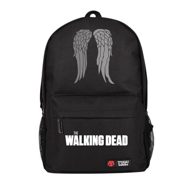 Hot TV The Walking Dead Bag Letter Print School Backpack Boys Girls College Fashion Bags Black