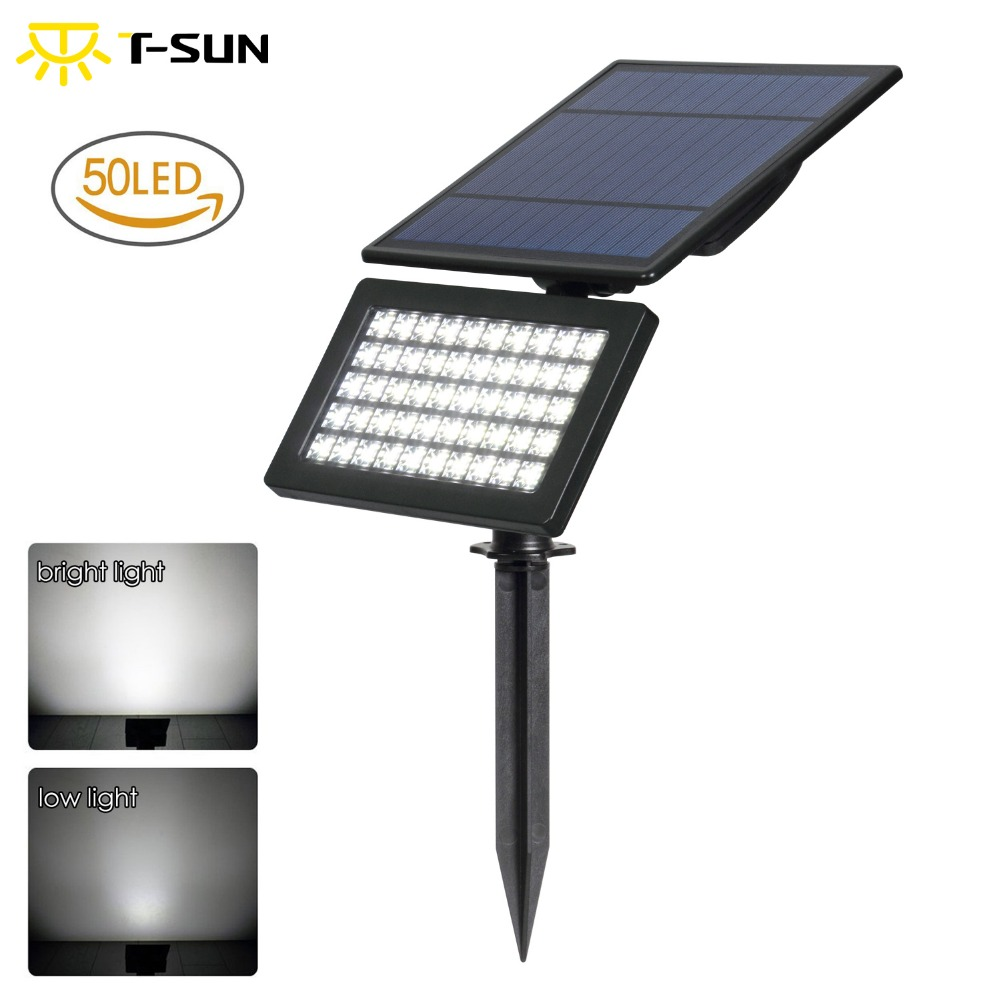 T-SUN 50 LED Solar Spotlights 5W Solar Garden Light 2 Modes Outdoor Adjustable & Auto ON/OFF Security Lighting for Yard Garden 2 in 1 solar powered led spotlight super bright outdoor lamp 8 led waterproof type adjustable auto on auto off security light