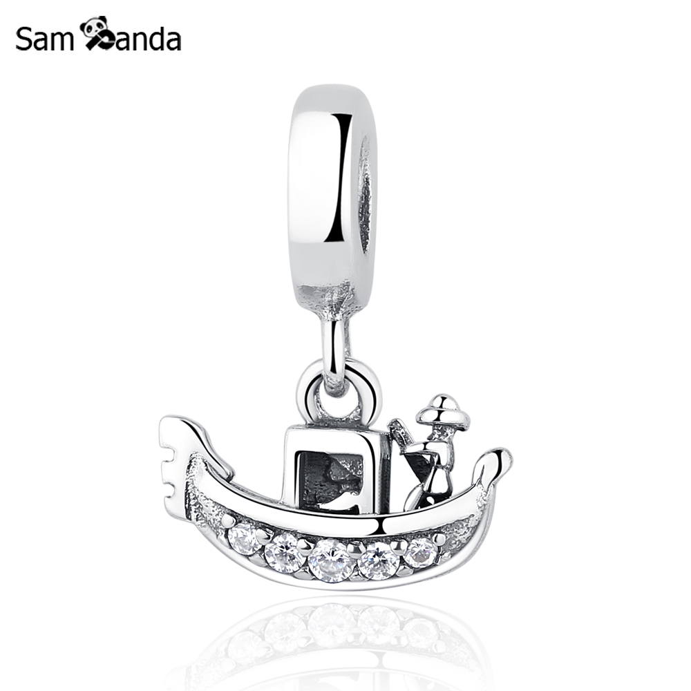 Authentic 925 Sterling Silver Charms Boat Venice Gondola Charm Clear CZ Pendant Bead Fit Pandora Bracelets & Bangles DIY Jewelry 2015 new spring 925 sterling silver pumpkin charm with gold and cz bead fits pandora bracelets in stock 1pc lot b520