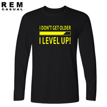 New I Don't Get Older I Level Up Funny Birthday Nerd Gamer Holiday T Shirt Tshirts Cotton Humor Funny Long sleeve T-shirts