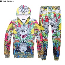 PLstar Cosmos Autumn Men Tracksuit Set Two Pieces Top And Pants Rick Morty 3d Print Hoodie Unisex Outerwear