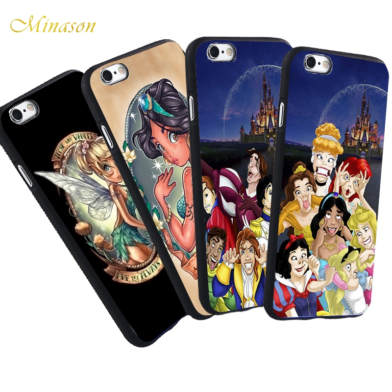 Minason For iPhone X 8 5 S 5S SE 7 Plus 6 6S Case Joke Silly Face Funny Princess Alice Ariel Silicone Soft Phone Fundas Capinha