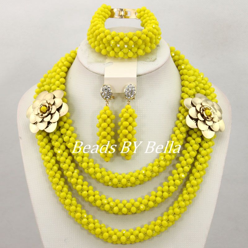 Handmade Yellow Crystal Beads Necklace Set African Wedding Beads Jewelry Set Women Costume Bridal Jewelry Free Shipping ABY778 цена