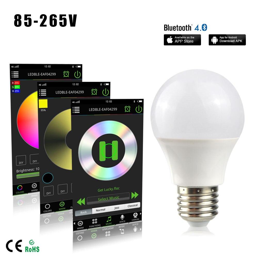 RGBW Magic Light Bluetooth 4.0 Smart LED Light Bulb - Controlled Sunrise Wake Up Lights - Dimmable Color Party Lights Bulb 4.5W будильник philips hf3510 01 wake up light