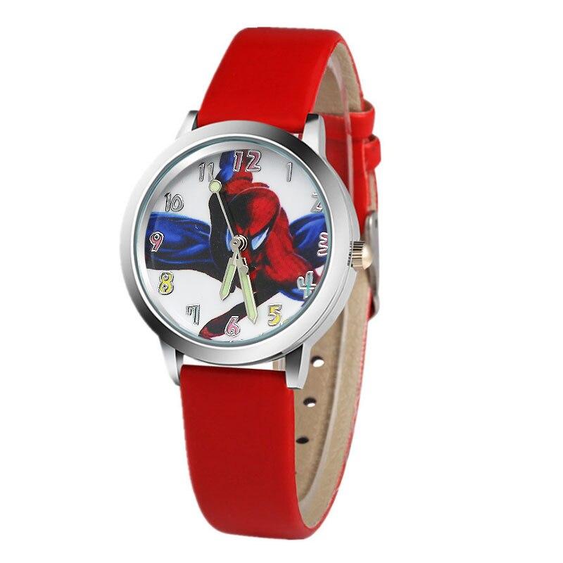 New Children's Watch 3D Pattern Spider-Man Cartoon Quartz Leather Watch 7-Color Girl Casual Wrist Watch Gift
