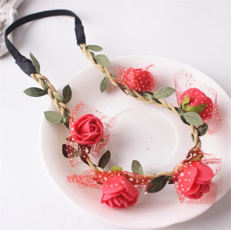 Fashion Rose Flower Headband Headwear Women Girl Elastic Hairbands Korean Floral Hair Bands Hair Accessories Headdress