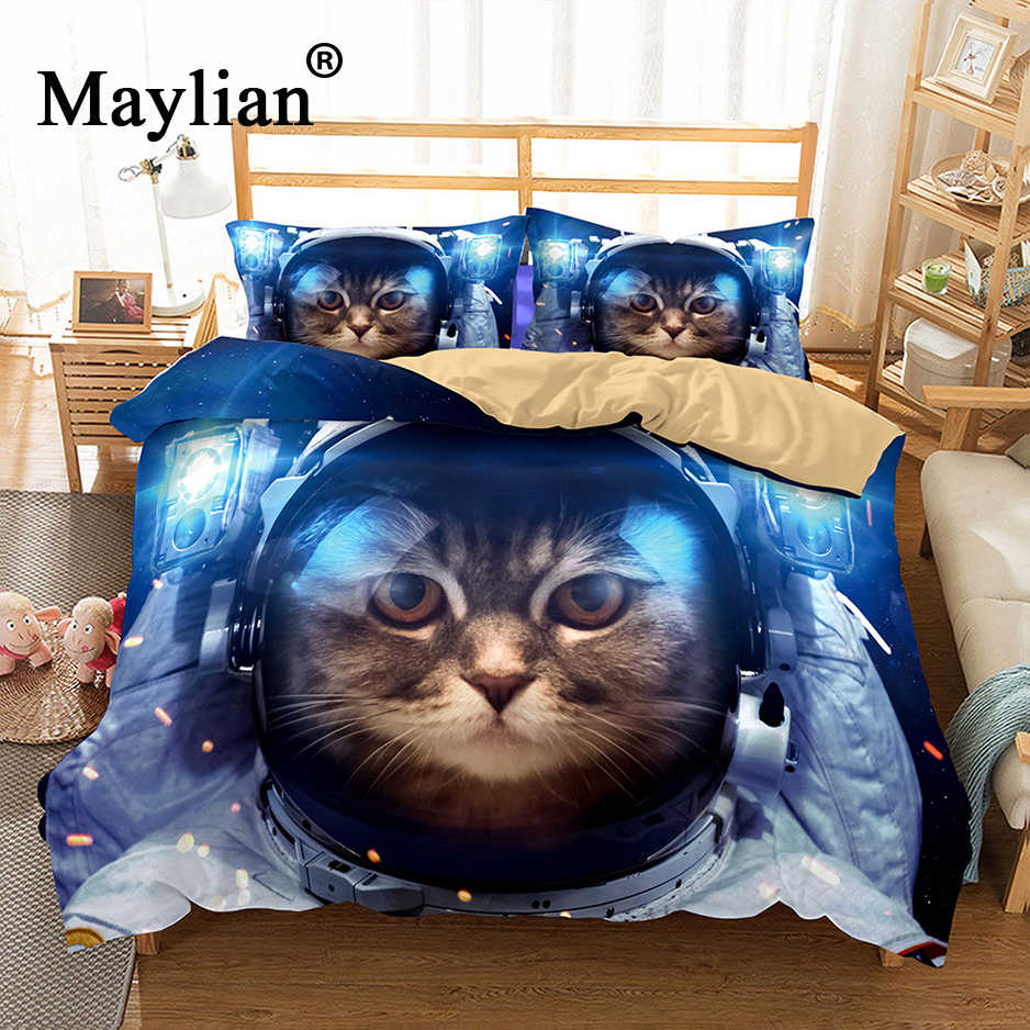 3D Space CAT Bedding Set Mandala Quilt Cover Peace Design Bed Set Bohemian a Mini Van Bedclothes 3pcs BE1115