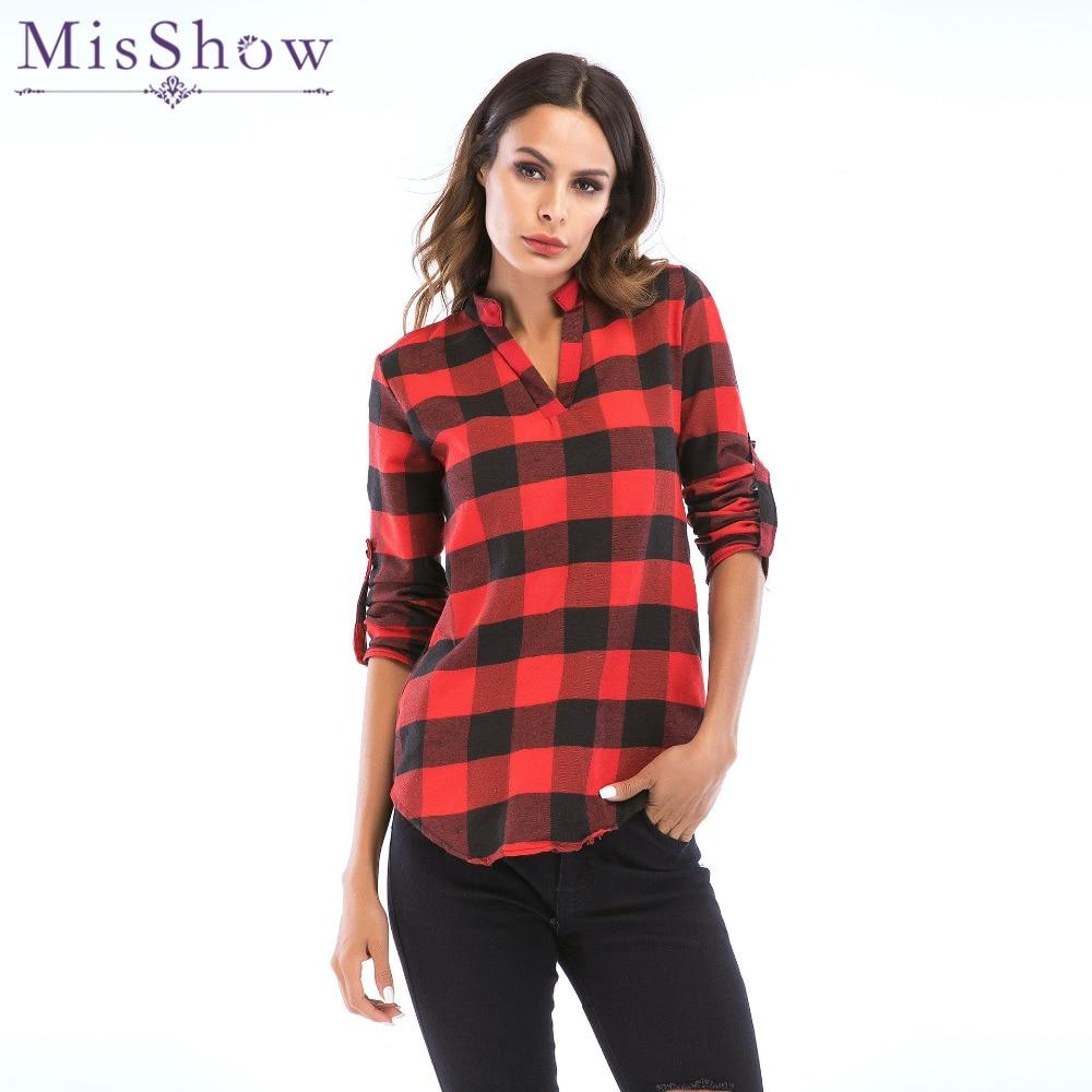 34206770d9 US $1.99 40% OFF Aliexpress.com : Buy MisShow Vintage Long Sleeve Grid Plus  Size Blouse Women 5 XL Loose Plaid Shirt Women Lattice Tops and Blouses ...