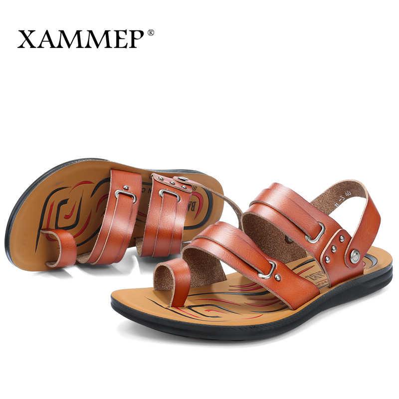 Мужские сандалии; Летняя обувь; мужские пляжные сандалии; брендовая мужская повседневная обувь; Вьетнамки; мужские кожаные кроссовки; Xammep