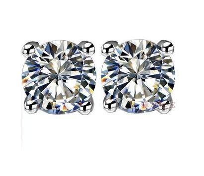 TE002 livraison gratuite! couleur or blanc 6 broches 0.5-2 carats ronde taille brillante sona simulé Gem Stud boucle d'oreille pour les femmes