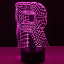 Amroe Novelty 3D lighting alphabet letter R 7 color changing Desk Led night  light USB Touch 7fa8466a2138