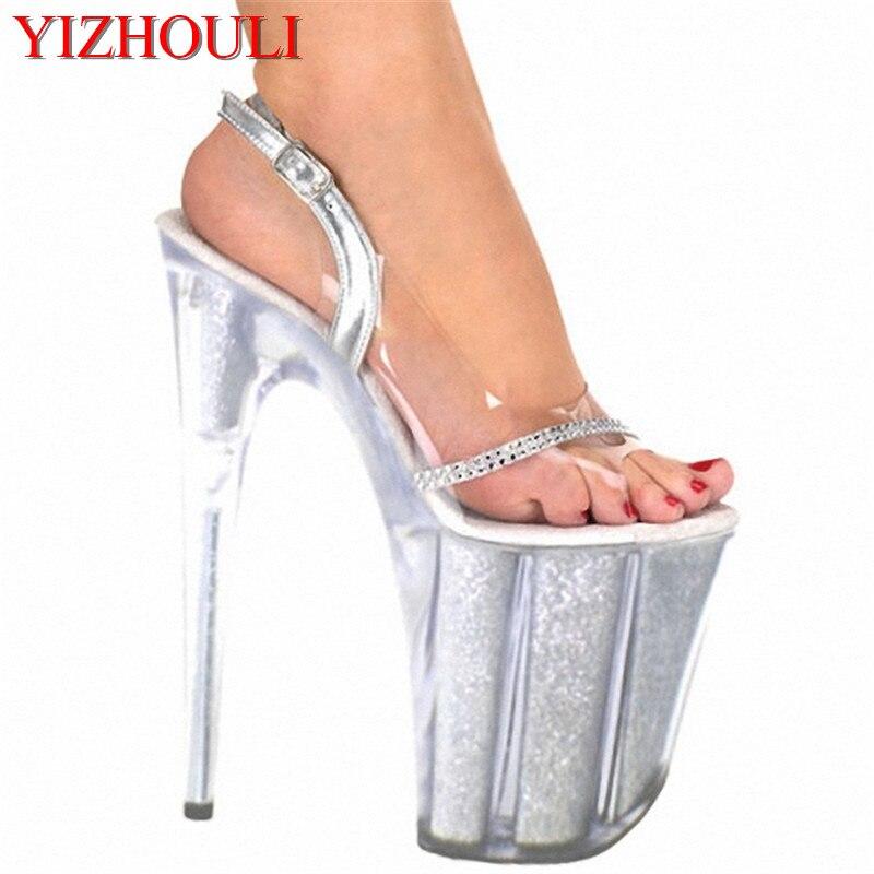 4807a23bf497 8 pouce plate-forme en cristal chaussures argent de mariée parti chaussures  20 cm sexy ultra haute talons clair lady mode sandales