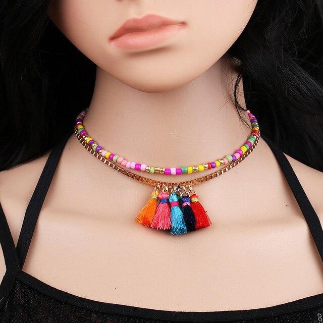 9e6582c4b3e8 JURAN Flecos Collares Con Cuentas Multicolores Cadena Gargantilla Collar  Para Las Mujeres Del Encanto de La