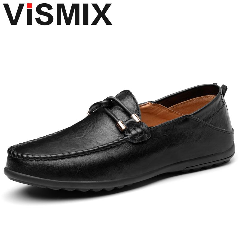 VISMIX Genuine Leather Handmade Mens Loafers Men Flats Winter Male Office Shoe Loafers Moccasins Peas shoes Plus Size 46 47