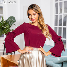 Bow Lace up Bell Sleeve Women Blouses