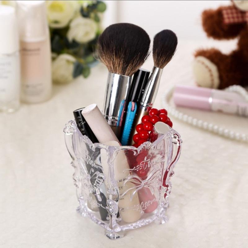 Acrylic Makeup Organizer Cosmetic Brush Pen Holder Storage Box Case Desktop Stationery Container