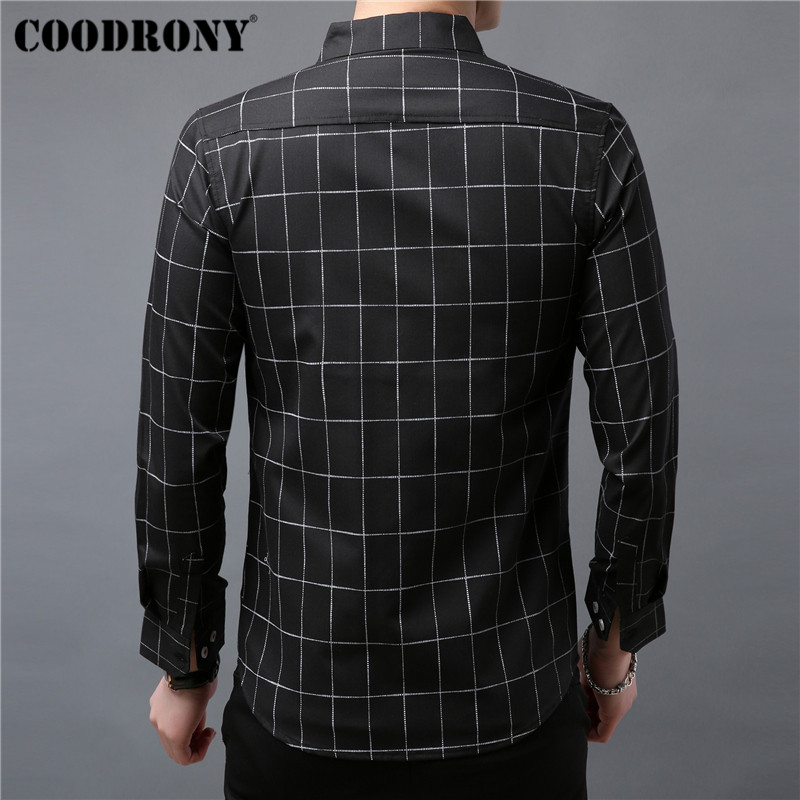 COODRONY Brand Men Shirt Autumn Clothes Business Casual Shirts Classic Plaid Shirt Men Long Sleeve Cotton Camisa Masculina 96052 in Casual Shirts from Men 39 s Clothing