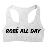Summer Fashion ROSE ALL DAY Letter Print Funny Sport Bra Vest Tank Tops Women Sexy Fitness