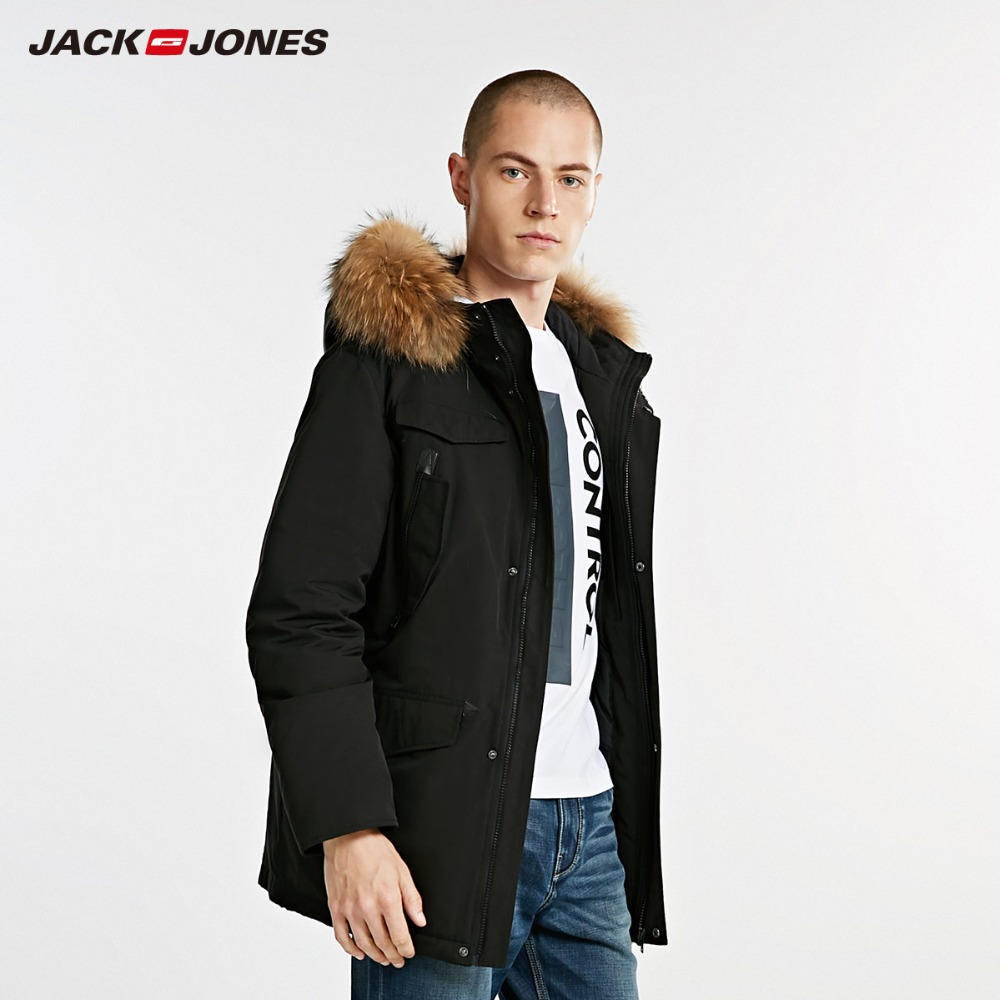 JackJones Men's Winter Long Hooded   Down   Jacket Outdoors Winter Overcoat Male Casual fashion   Coat   Menswear 218312512