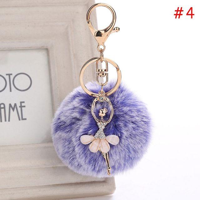 Fashion Dancing Angel Fluffy Pompom Keychains Ballerina Girl Ball Keychain For Women Bag Car Pendant Key Chain Ring Jewelry